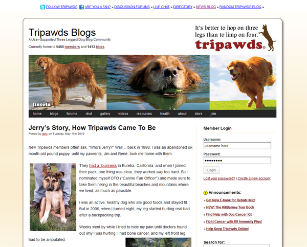 Learn More About Jerry G Dawg and How Tripawds® Came To Be
